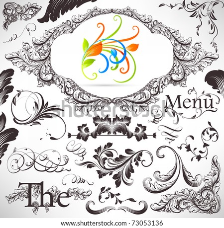 vector set: calligraphic design elements and page decoration - lots of useful elements to embellish your layout. With colorful spring 3d ornament. - stock vector