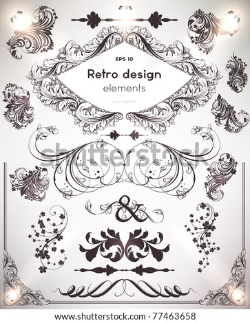 vector set: calligraphic design elements and page decoration - lots of useful elements to embellish your layout. Flower vintage ornaments for retro design. - stock vector