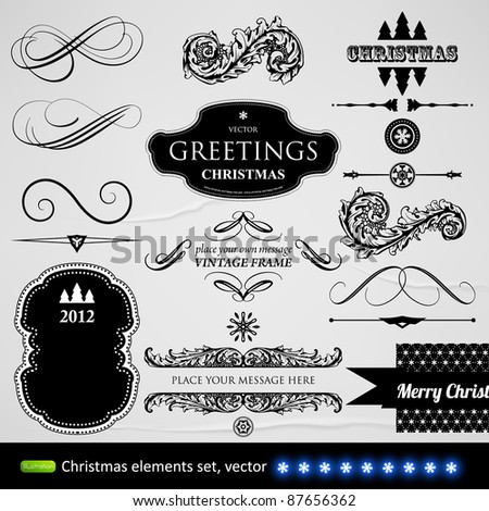 vector set: calligraphic design elements and page decoration - lots of useful elements to embellish your layout, Christmas elements, seamless ornament - stock vector