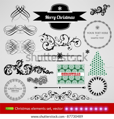 vector set: calligraphic design elements and page decoration - lots of useful elements to embellish your layout, seamless christmas background - stock vector