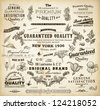 vector set: calligraphic design elements and page decoration, Premium Quality and Satisfaction Guarantee Label collection with black grungy design - stock vector