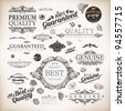 vector set: calligraphic design elements and page decoration, Premium Quality and Satisfaction Guarantee Label collection with black grungy design - stock photo