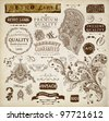 vector set: calligraphic design elements and page decoration, Premium Quality and Satisfaction Guarantee Label collection with vintage frames and detailed hand drawn ornaments with birds | Old paper - stock photo