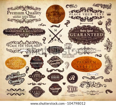 vector set: calligraphic design elements and page decoration, Premium Quality and Satisfaction Guarantee Label collection with black grungy design, old paper texture. - stock vector