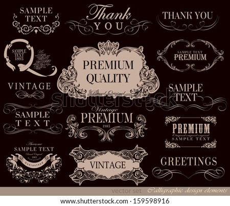 vector set: calligraphic design elements and page decoration, Premium Quality and Satisfaction Guarantee - stock vector