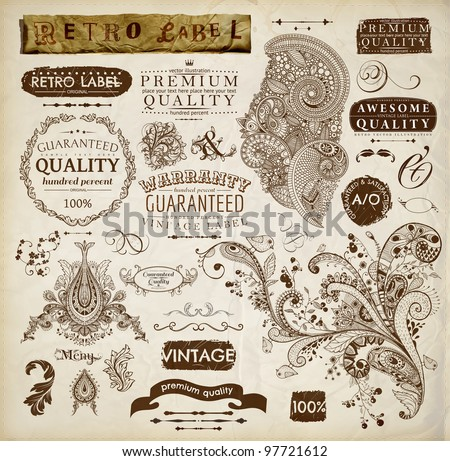 vector set: calligraphic design elements and page decoration, Premium Quality and Satisfaction Guarantee Label collection with vintage frames and detailed hand drawn ornaments with birds | Old paper - stock vector