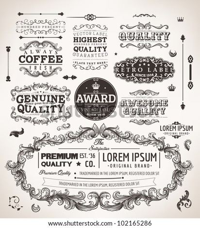 vector set: calligraphic design elements and page decoration, Premium Quality, Genuine and Satisfaction Guarantee Label collection | EPS10 vector - stock vector