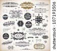 vector set: calligraphic design elements and page decoration, Premium Quality, Seafarers and Satisfaction Guarantee Label collection with black grungy design and flowers - stock vector