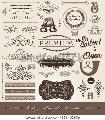 Vector set- calligraphic design elements and page decoration - set of elements for books- decorations_2 - stock vector