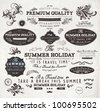 vector set: calligraphic design elements and page decoration, Summer Holiday and Travel Time Label collection with black grungy design for old style design - stock vector