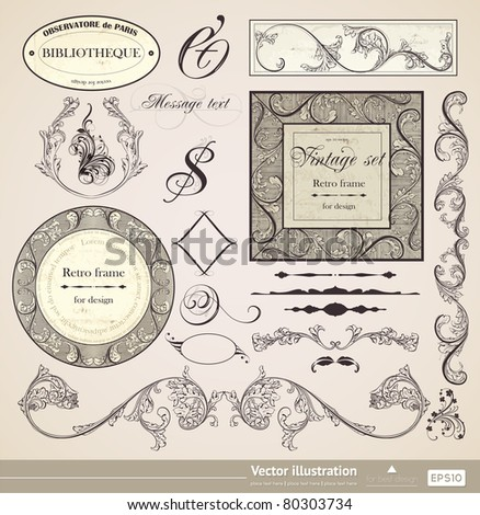 Vector set. Calligraphic design elements and page decoration. Useful elements to embellish your layout. Big collection. - stock vector