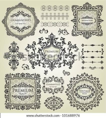vector set: calligraphic design elements and page decoration, Vintage Frame, Premium Quality and Satisfaction Guarantee Label