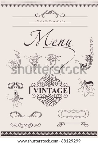 Vector Set: Calligraphic Design Elements For Page Decoration - stock vector