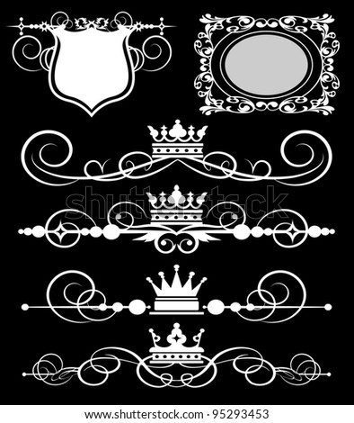 vector set: calligraphic design elements for your design - Victorian Scrolls and crown. Decorative Dividers. Vintage