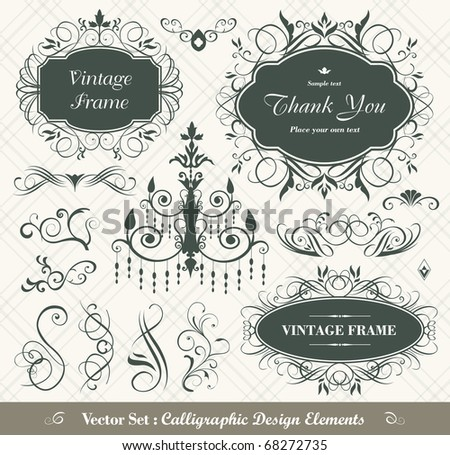 vector set: calligraphic design elements - lots of useful elements to embellish your layout - stock vector