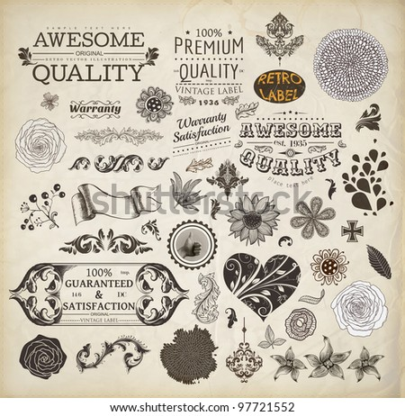 vector set: calligraphic design elements, Premium Quality and Satisfaction Guarantee Label collection with vintage engraving flowers, Heart with flower ornament for wedding invitation - stock vector