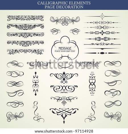 Vector set calligraphic element and page decoration - stock vector