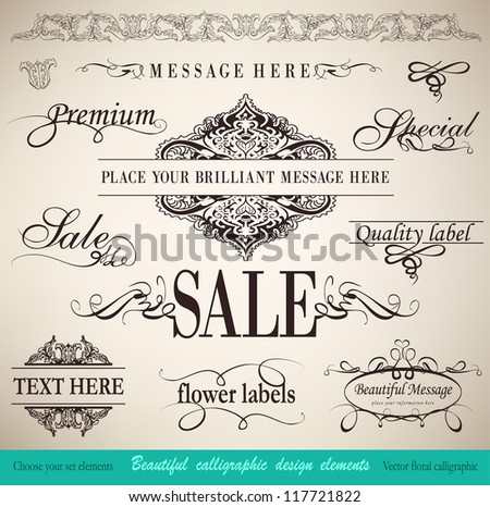 vector set: calligraphic floral  design elements and page decoration - lots of useful elements to embellish your layout - stock vector