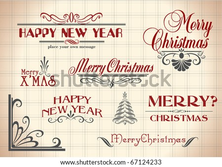 vector set: calligraphic vintage design elements and page decoration - christmas and New Year lettering - stock vector