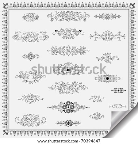 vector set: calligraphic vintage design elements and page decoration - lots of useful elements to embellish your layout - stock vector