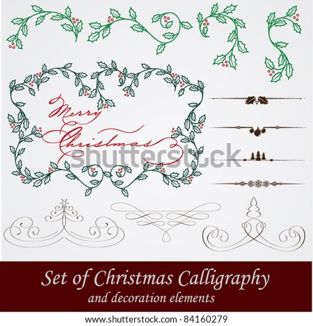 vector set: calligraphic vintage design elements and page decoration. With snowflake, fir, holly and other christmas and New Year elements. - stock vector