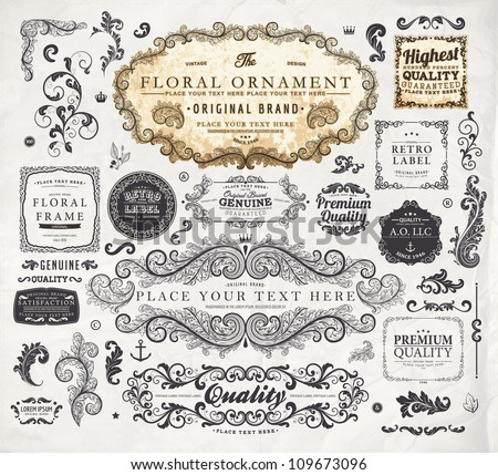 vector set: calligraphic vintage design elements collection and page decorations, Premium Quality, Genuine and Satisfaction, Guaranteed Labels with engraving flowers and detailed classical frames - stock vector