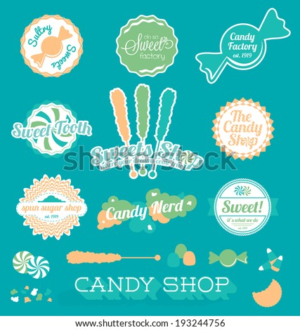 Vector Set: Candy Shop Icons and Labels - stock vector