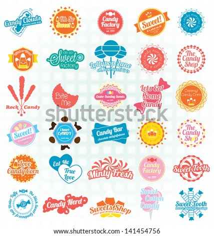 Vector Set: Candy Sweets Labels and Icons - stock vector