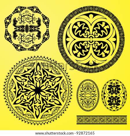 vector set: celtic ornaments, decorations and borders - stock vector