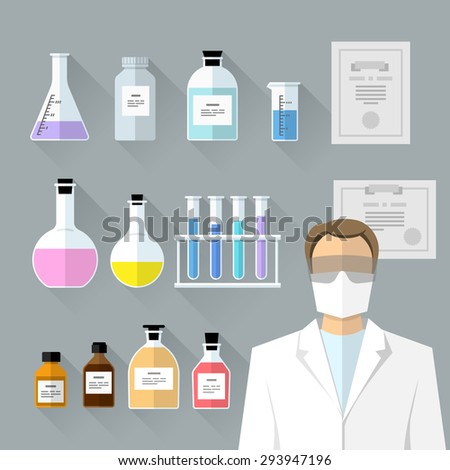 Vector set - chemical designer. Flat design The test tube, beaker, flask - stock vector