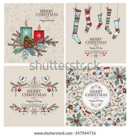 Vector set: Christmas cards with Christmas decorations.hand drawn  - stock vector