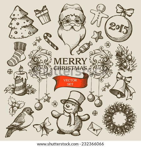 Vector set Christmas hand drawn icons, elements, objects - stock vector