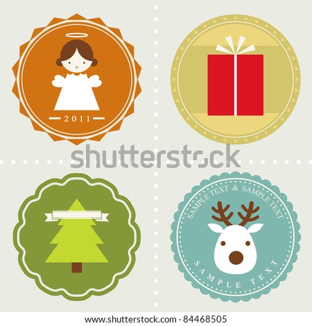 vector set: Christmas labels - stock vector