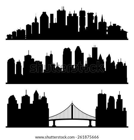 Vector set. Cities silhouette. - stock vector