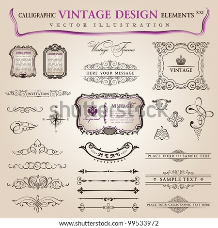 Vector set classic: calligraphic design elements and page decoration, collection with royal ornament - stock vector