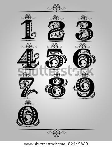 vector set : Classical numbering  design element - stock vector