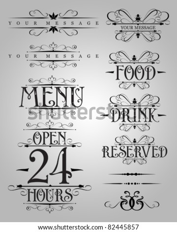 vector set : Classical numbering greetings restaurant text design element 2 - stock vector