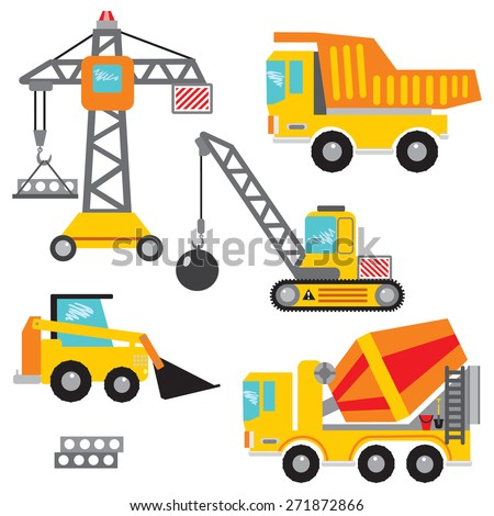 Vector set clip art construction machinery.Tower crane, dumper, crawler crane,bulldozer,concrete mixer. Many construction machines and cars have in my portfolio. - stock vector