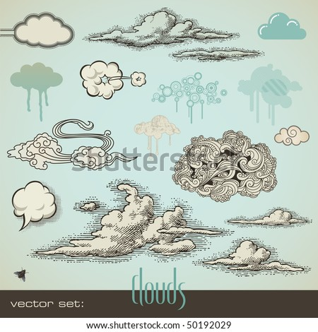 vector set: clouds - stock vector