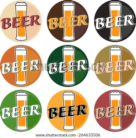 vector set coaster with beer glasses on different colors background - stock vector