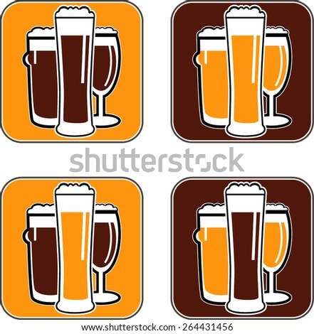 vector set coaster with different beer glasses with dark and light colors - stock vector