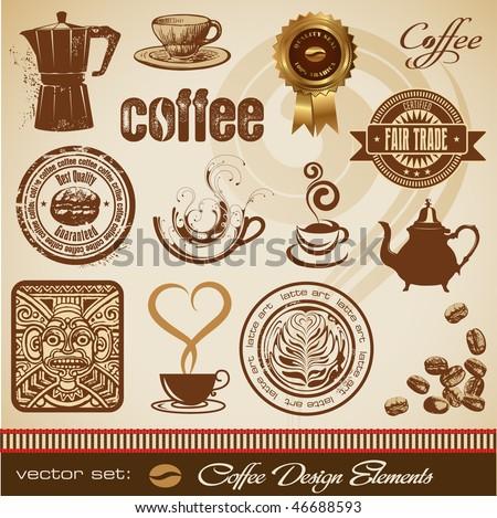 vector set: coffee design elements - stock vector