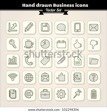 Vector Set. Collection Of Hand Drawn Business Icons