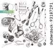Vector set: collection of highly detailed hand drawn sewing and knitting tools. - stock vector