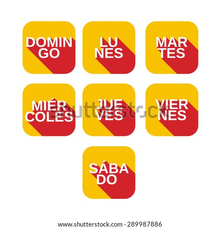 Vector set color square icons with titles of days of the week from Monday to Sunday on  spanish languages - stock vector