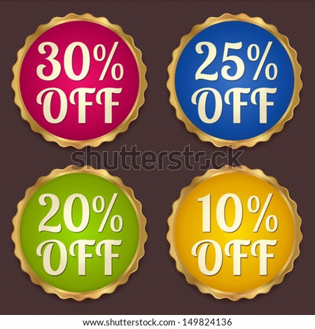 Vector set: Colorful Sale banners, labels (coupon, discount tag) template (layout) with gold frame (border). Bright design for sticker, web page ad, ticket etc. Corrugated background - stock vector