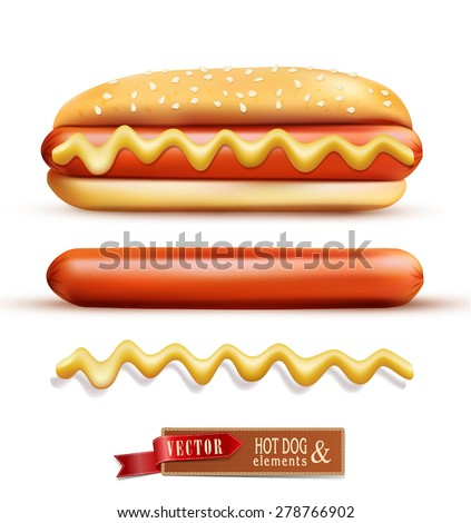 vector set consisting of elements: a bun, mustard, sausage
