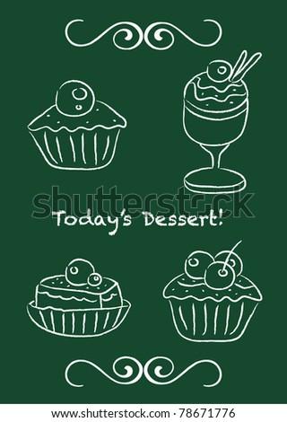 Vector set: cupcake and ice-cream on blackboard design - stock vector