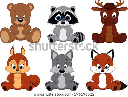 Vector Set Cute colorful exotic animals collection - stock vector