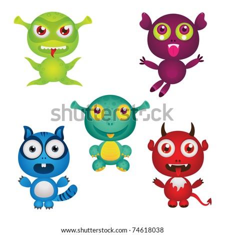 vector set: cute little monsters - stock vector